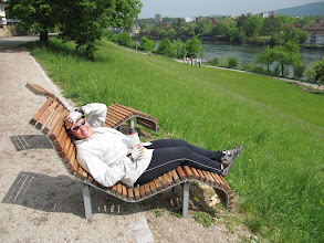 Photo: Day 30 - Ergonomic Loungers on the Cycle Track Alongside the Rhine in the Town Rheinfelden