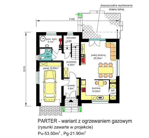 BW-55 - Rzut parteru - propozycja adaptacji - ogrzewanie gazowe