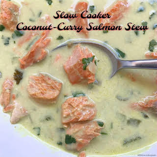Slow Cooker Coconut Curry Salmon Stew (Paleo/Whole30).