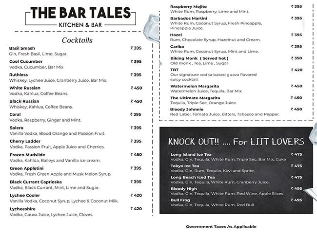 The Bar Tales menu 1