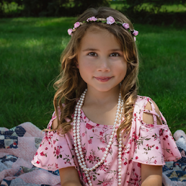 pearls and flowers  by Judy Deaver - Babies & Children Child Portraits ( flowers, pink, summer portrait, pearls )