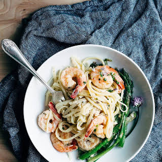 Creamy Asparagus and Shrimp Pasta.
