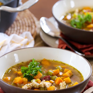 Thanksgiving Soup with Turkey, Sweet Potatoes and Cranberries.