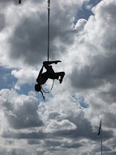 Photo: A performer at the Hoopla festival at Darling harbour (it didn't look that well secured to me!!!)
