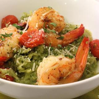 Pesto 'Spaghetti' Squash & Prawns