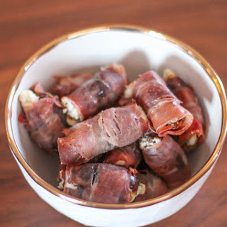 Prosciutto Wrapped Dates Stuffed with Cheese.