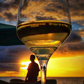 A man love his wine by Monita Alstadsæter - Food & Drink Alcohol & Drinks ( love, wine glass, sunset, man, winelover )