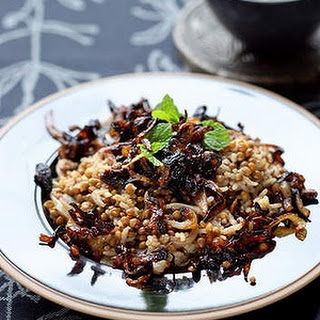 Middle Eastern lentils and rice with blackened onions