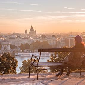 Watch the Sunrise by Mo Kazemi - People Street & Candids ( sunrise, sunshine, city, good morning, magic hour, girl, sun, hungary, tourist, golden hour, lonely girl, cityscape, budapest, sunny, landscape )