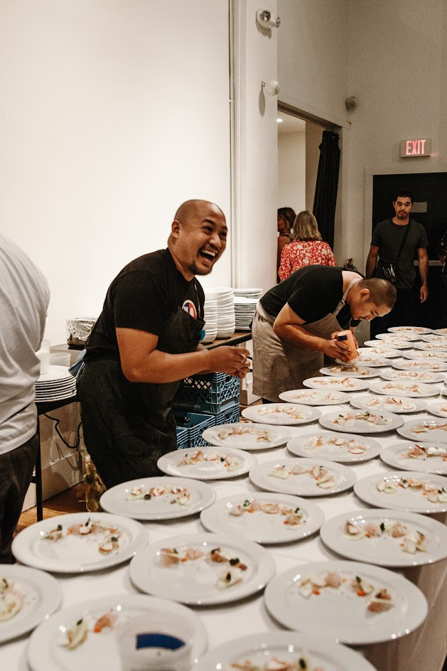 Portland Clyde Common Carlo Lamagna plating at the Feast PDX Twisted Filipino Dinner, photo credits Kimberley Hasselbrink