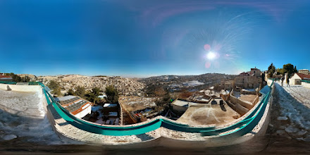 Photo: Porch overlooking the Kidron valley (left) and the Hinnom valley (right), also known as Biblical Hell.