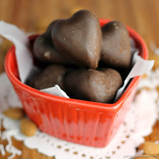 Dark Chocolate Toasted Almond and Coconut Hearts.