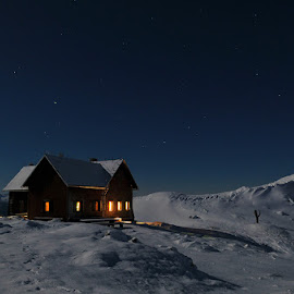 Under stars by Blaž Ocvirk - Landscapes Mountains & Hills ( winter, stars, slovenia, ratitovec, night )