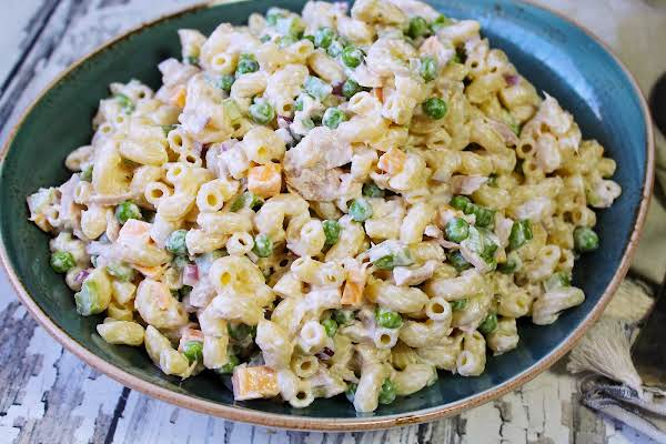 A Big Bowl Of Grandma Wells' Tuna Macaroni Salad.