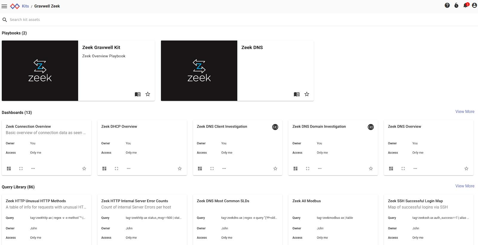 Zeek kit contents