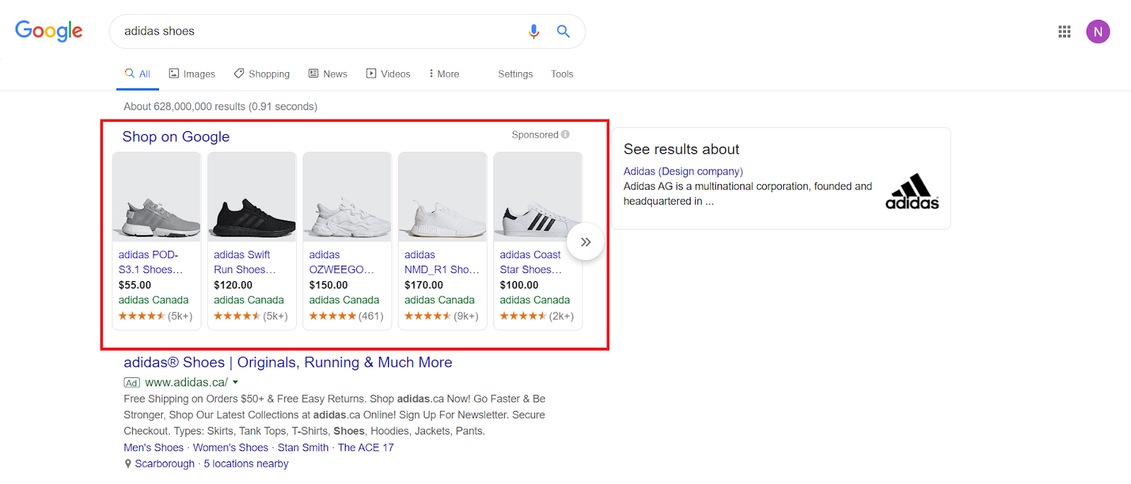 "A picture of a Product Shopping ad for ""adidas shoes"" on Google search result."