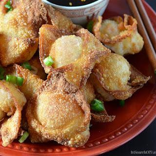 Fried Shrimp Wontons with Mushrooms.