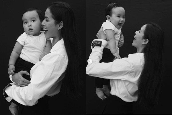 Lần hiếm hoi lộ ảnh rõ mặt con trai Hoa hậu Phạm Hương