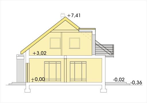 Adaś II wersja B z pojedynczym garażem - Przekrój
