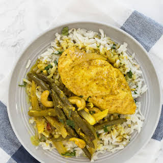 Slow Cooker Curry Cashew-Coconut Chicken with Ginger-Cilantro Turnip Rice.