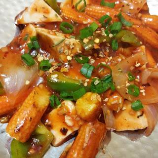 Cheese Babycorn Mushroom In Hot Garlic Sauce.