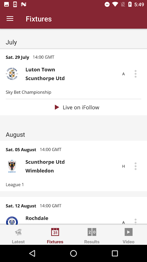 Scunthorpe United Official App- screenshot