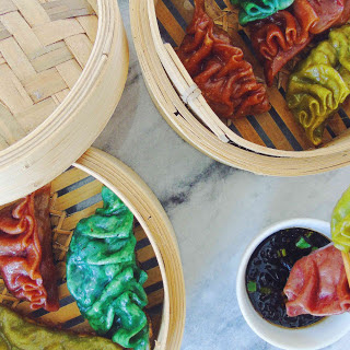 Colorful Tofu Mushroom and Scallion Dumplings [Vegan].