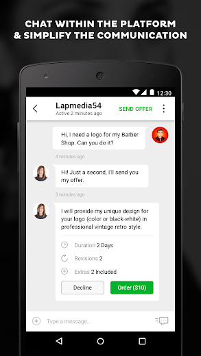 Screenshot 3 for Fiverr's Android app'