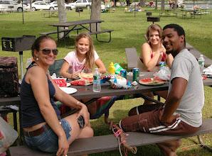 Photo: Friends enjoy a picnic at Crystal Lake State Park