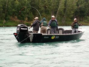 Photo: Jeremy Anderson of Alaska Drift Away Fishing running a drift on the Kenai river.