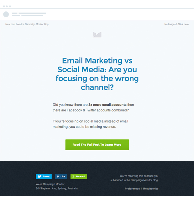"""An example of email marketing with a great CTA for content promotion - """"Email Marketing vs. Social Media: are you focusing on the wrong channel?"""""""