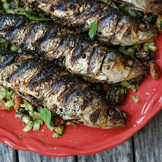 Grilled Sardines with Mint & Almonds