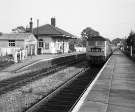 Photo: A down train speeds through Charlbury (1969?)