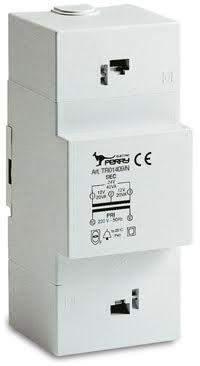 Ringledningstrafo DIN-montage, 30VA, 230/12-12-24VAC, 3 moduler