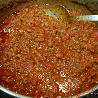 Baked Chili with Ground Beef & Beans.