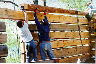 Photo: It got harder and harder to maneuver the logs as the walls got higher.