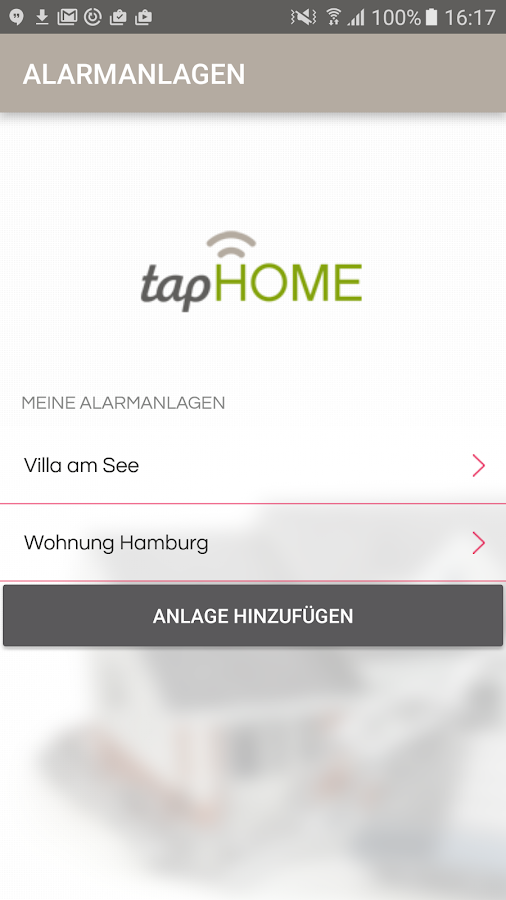 tapHome Home Alarm – Screenshot