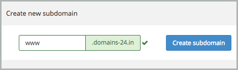 www was entered in the subdomain field.