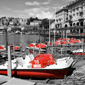 Lake Lugano Boats by Ty Yang - City,  Street & Park  City Parks ( boats, lugano, red, white, pwc87, Free, Freedom, Inspire, Inspiring, Inspirational, Emotion )
