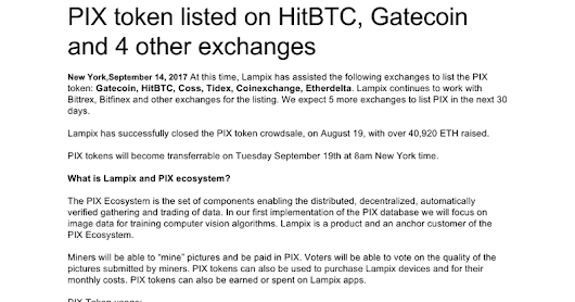 Press Release - PIX token listed on HitBTC, Gatecoin and 4 other exchanges