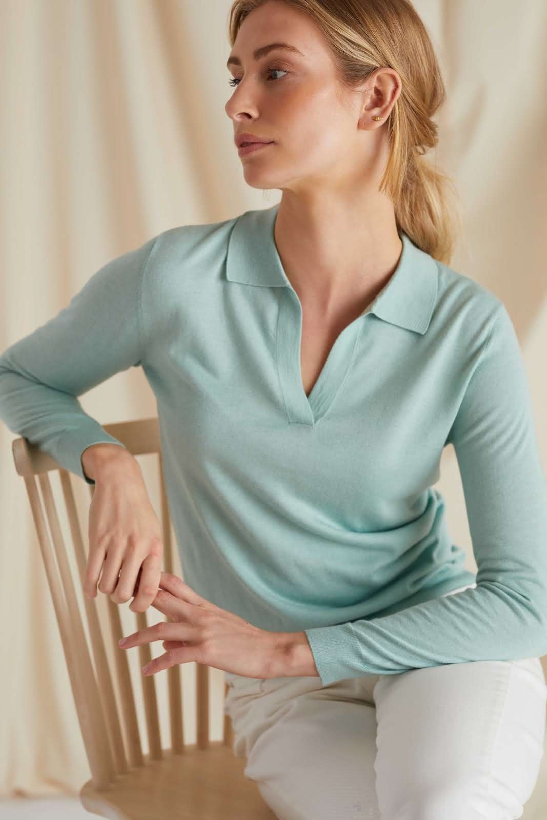 Fine Knit Open Collar Sweater