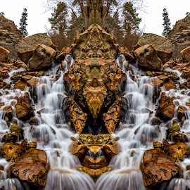 Lisa Falls  by Brandon Montrone - Digital Art Places ( digital, mirror, mountain, canyon, rocks, nature, waterfall, river, water, landscape )