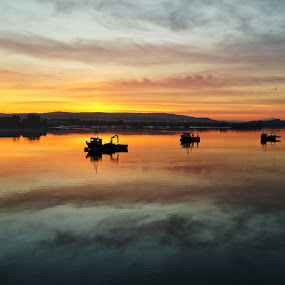 Calm and Subtle by Jon Marshall - Landscapes Waterscapes ( sunset, alloa docks )