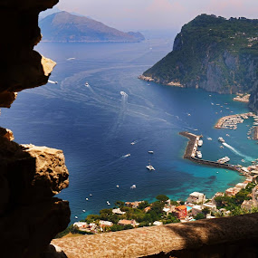 From the near top of the Island of Capri. Scary high ... And I'm terrible with heights. by Aaron Bushkowsky - Landscapes Beaches
