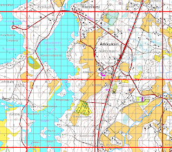 Photo: 1 km x 1 km and 100 m x 100 m graticule of the Finnish uniform coordinate system (kkj3, ykj) burned onto a topographic map in ETRS-TM35FIN projection automatically with an R program (http://www.r-project.org/) script