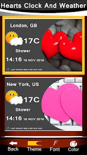 Hearts Clock And Weather - náhled