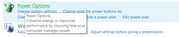 Power Options in the Control Panel