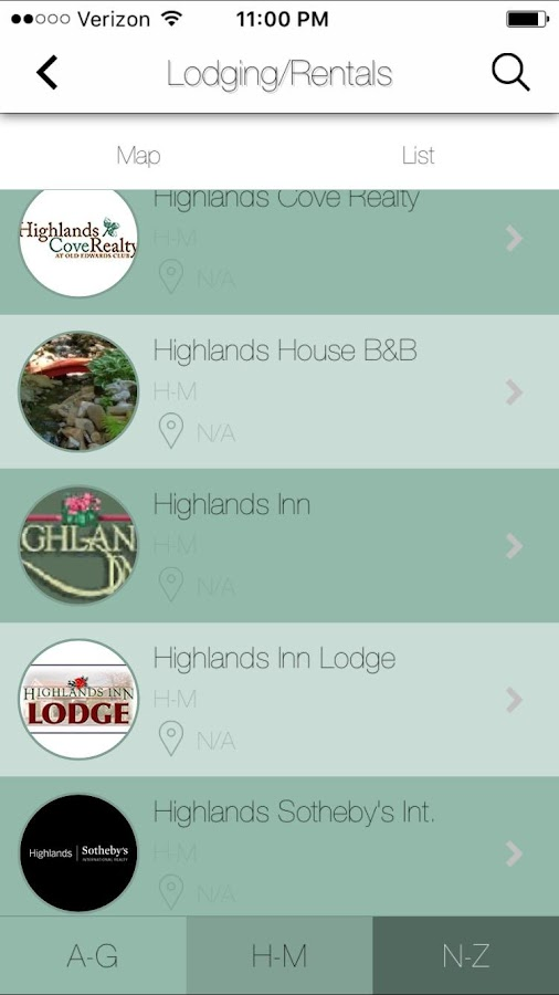 Highlands Chamber of Commerce- screenshot