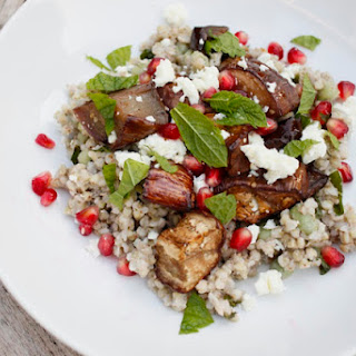 Buckwheat Salad With Pomegranate-glazed Aubergine, Feta, Broad Beans And Mint
