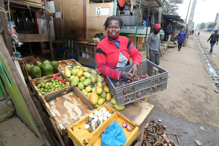 A vegetable and fruits vendor in Pumwani opened her stall opposite Califonia Estate in Eastleigh on May 7, 2020, but residents cannot cross the road to go and buy from her.